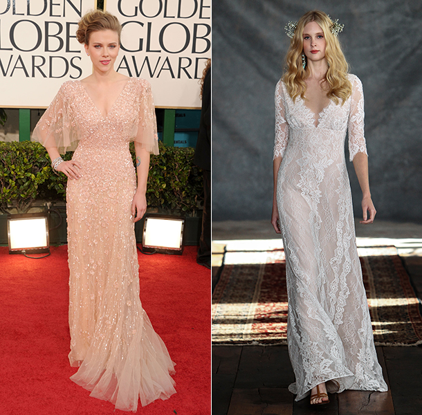 Maternity wedding dresses in pregnant Scarlett Johansson style
