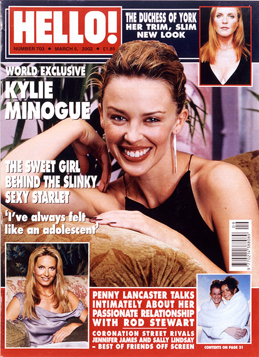 Kylie Minogue on the cover of HELLO! 5th March 2002