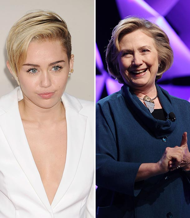 Miley Cyrus and Hillary Clinton