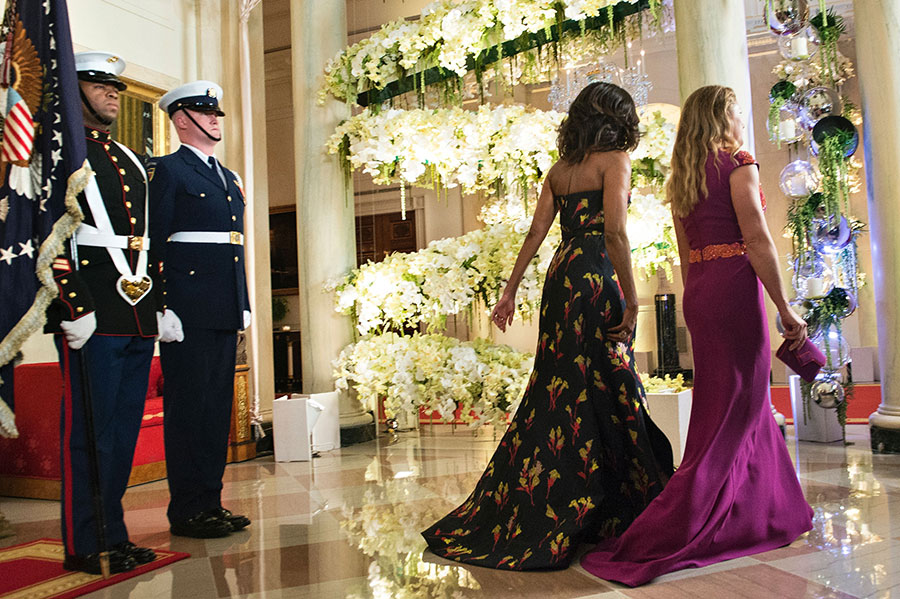 Malia and Sasha Obama are all grown up at their first state dinner ... Reynolds Wrap Dress