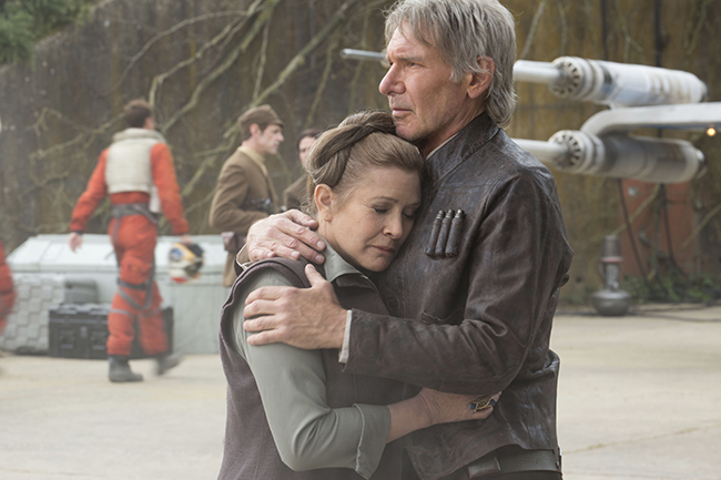 Carrie Fisher and Harrison Ford reunite for Star Wars: The Force Awakens