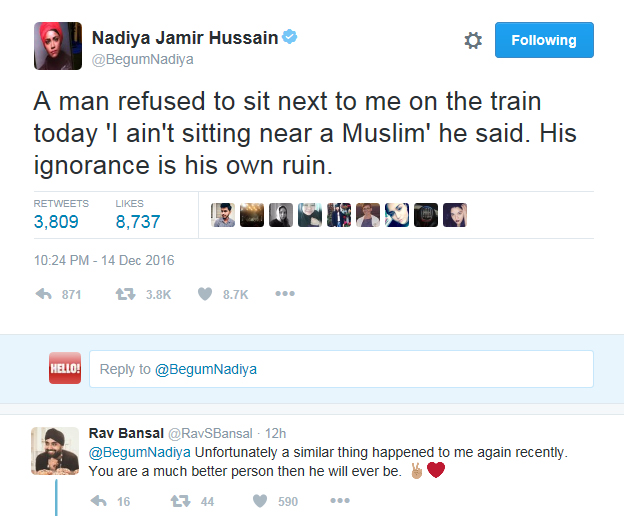 Nadiya Hussain victim of racial abuse during recent train journey