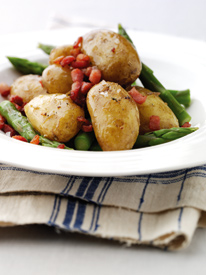 jersey royals with pancetta and asparagus