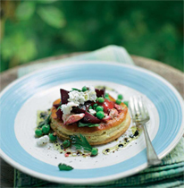 Pea, beetroot and goat's cheese tart
