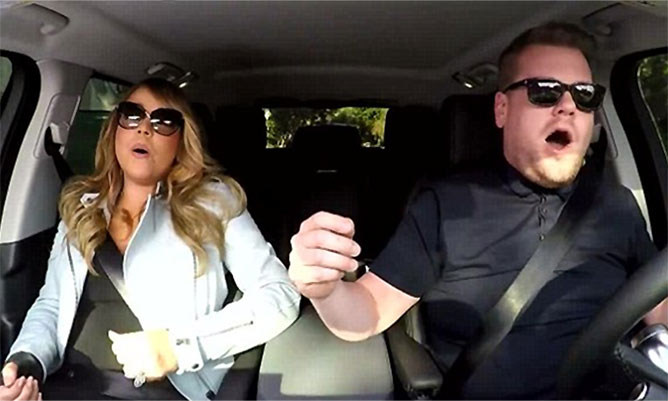 James Corden enjoys karaoke session with Mariah Carey for The Late, Late Show