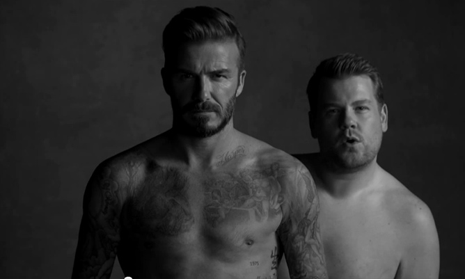 David Beckham teams up with James Corden for hilarious new underwear skit
