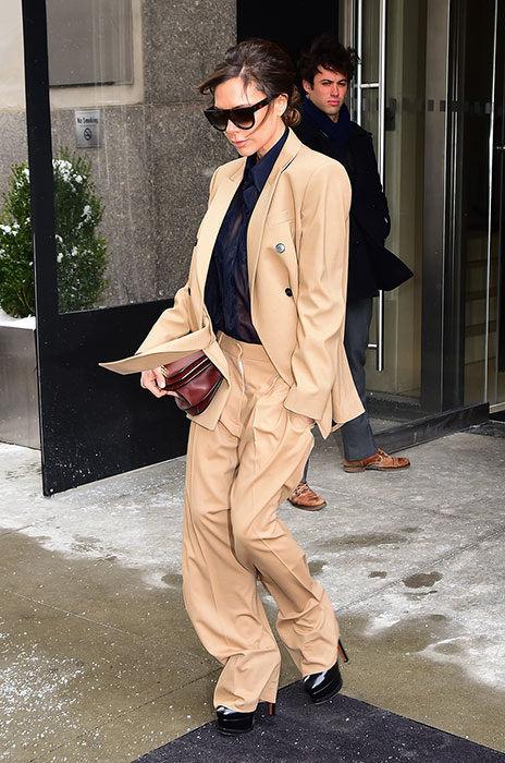 Victoria Beckham steps out in a nude-hued suit