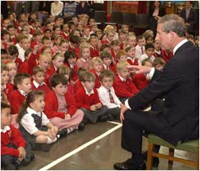 Prince Charles visits a primary school near Slough