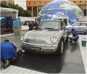 A hydrogen-powered Mini-Cooper is exhibited at the UN World Summit in Johannesburg