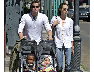 Brad and Angelina take kids for a stroll