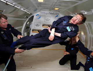 Stephen Hawking defies gravity