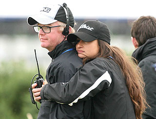 Chris Evans and fiancée attend Open Championship