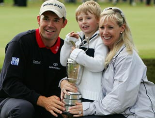 Open winner Padraig celebrates with family