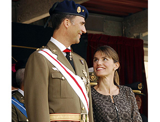 Felipe and Letizia view military ceremony in Madrid