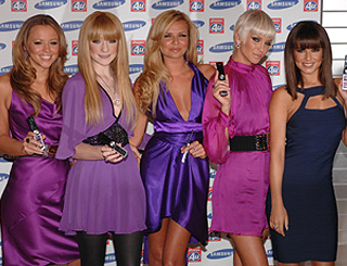 Girls Aloud are pretty in purple for phone launch