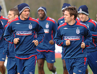 Becks and Michael catch up during England training