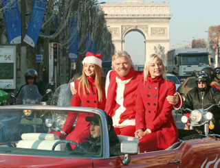 Richard Branson brings festive cheer to Paris