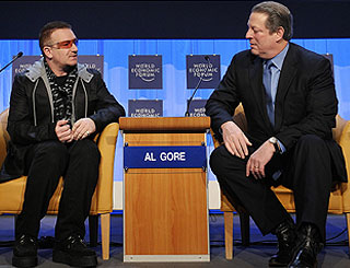 "Bono likens Al Gore to ""an Irish priest"""