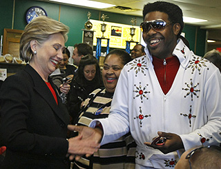 Hilary Clinton gets support from Elvis impersonator
