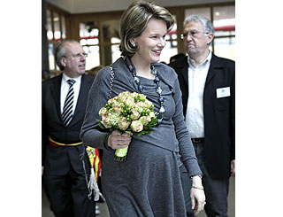 Heavily pregnant Mathilde keeps up royal duties