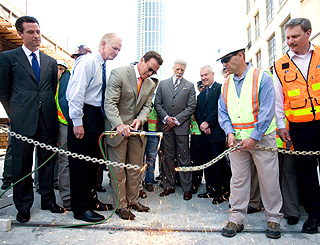 Arnold Schwarzenegger is hands on at bridge opening