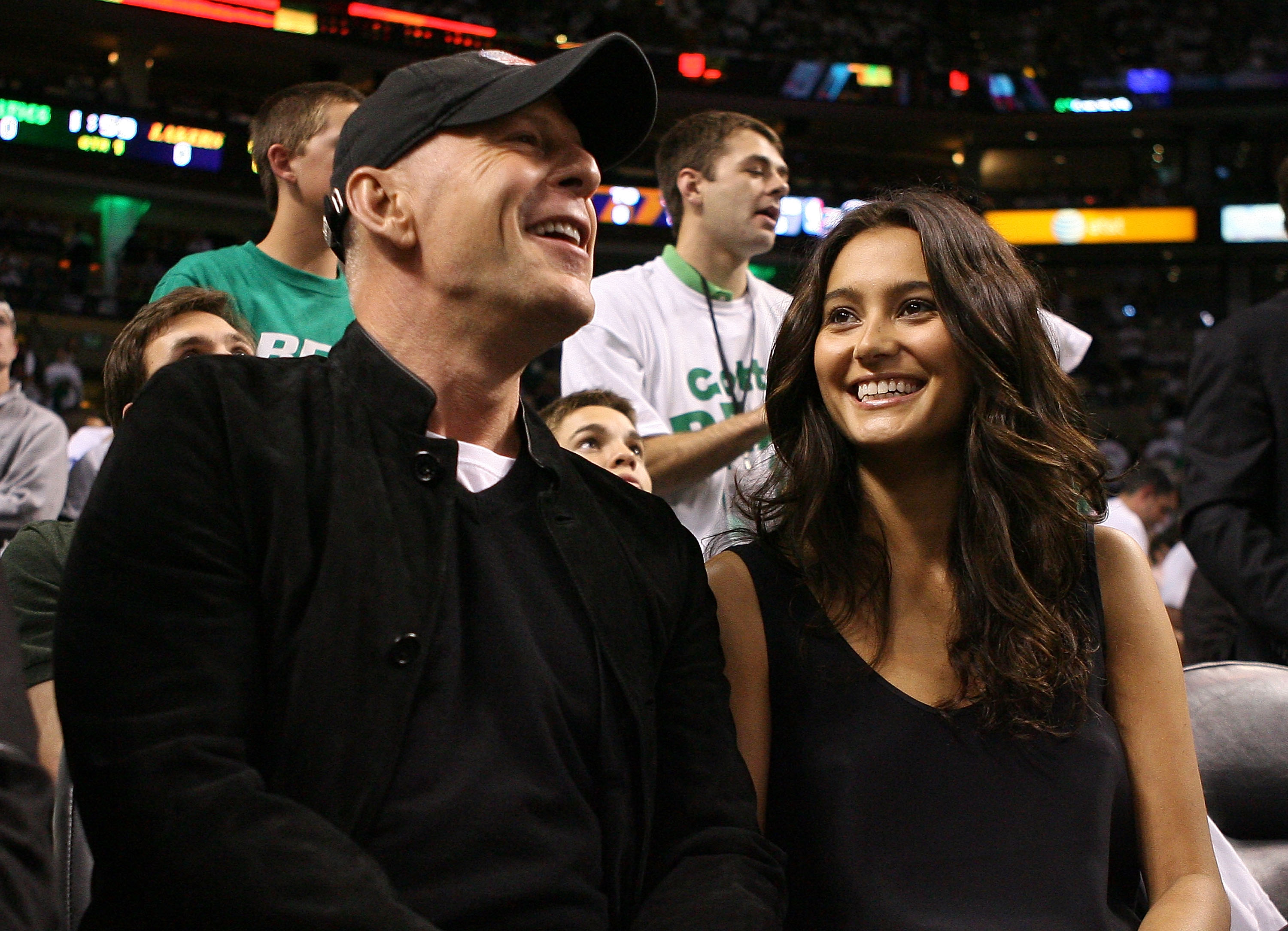 Bruce Willis goes courting at the basketball game