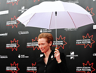 Tilda Swinton has a brolly good time in Edinburgh