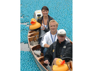 Emma and Shane set sail with rubber duck regatta