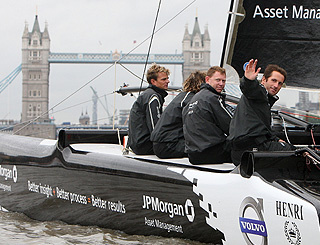 Three-times Olympic winner Ben sails up the Thames