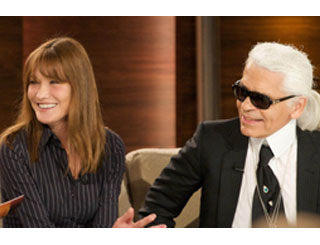 Carla Bruni Sarkozy joins Karl Lagerfeld on chat show