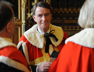 Peter Mandelson welcomed into Lords