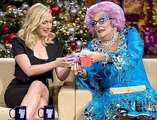 Stunning Kate gets beauty tips from Dame Edna