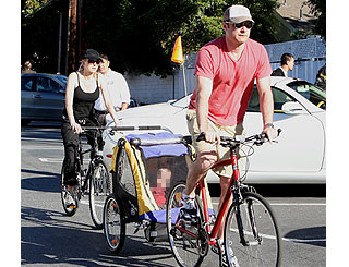 Naomi Watts and family get on their bikes