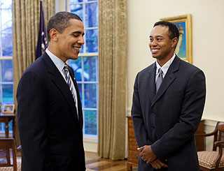 Tiger visits White House and talks golf date with President