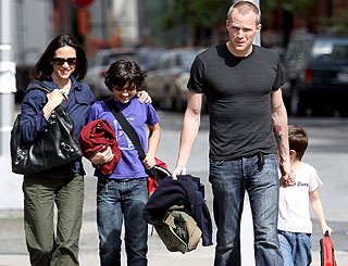 Paul Bettany's picture perfect family takes a spring stroll