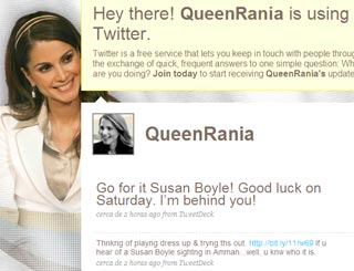 Queen Rania of Jordan tweets 'Go for it Susan Boyle'
