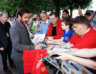 Hero's welcome for Eric Cantona as he presents film debut