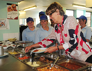 Celeb chef Prue Leith gets a taste of healthy new school meals