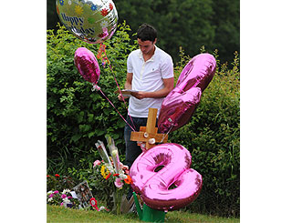 Jack Tweed at Jade Goody's graveside for her 28th birthday