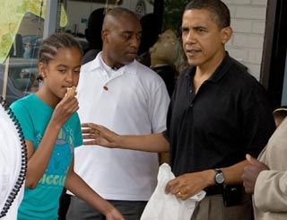 Obama girls enjoy ice cool Father's Day outing with dad