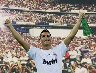 Rapturous Madrid welcome for £80m football hunk Cristiano