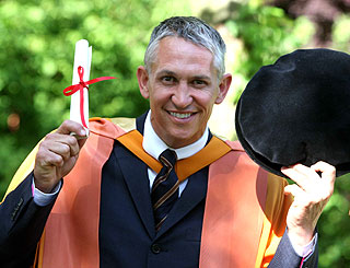 Honorary hat-trick for Gary Lineker as he scores third degree