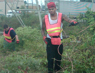 Chris Brown begins community service for Rihanna assault