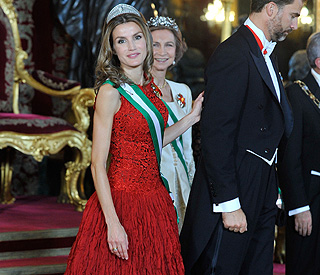 Diamond girl Princess Letizia sparkles in favourite tiara