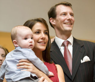Marie and Joachim take baby Henrik on first official trip