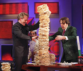 Gordon Ramsay's leaning tower of poppadoms