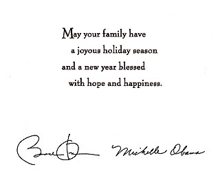 Elegant White House Christmas card from the Obamas