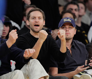 Pals Leo DiCaprio and Tobey Maguire cheer on Lakers