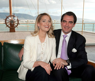 Newly engaged Prince Nikolaos poses with fiancée