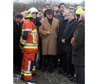 King Albert of Belgium visits scene of train tragedy